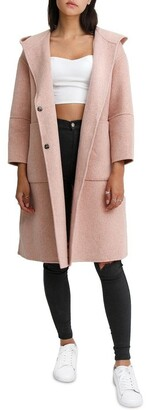 Belle & Bloom Walk This Way Blush Wool Blend Oversized Coat
