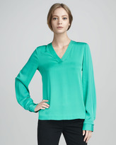 Diane von Furstenberg Viv Long-Sleeve V-Neck Top