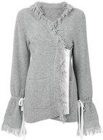 Sacai frayed edge cardigan - women - Cupro/Wool - 2