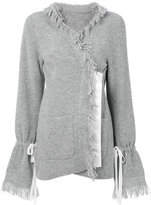 Sacai frayed edge cardigan - women - Cupro/Wool - 3