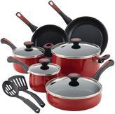 Paula Deen Riverbend Aluminum Nonstick 12-Piece Cookware Set, Red Speckle