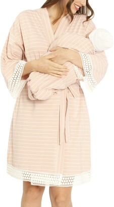 Angel Maternity Ruby Maternity/Nursing Sleep Shirt, Robe & Baby Blanket Set