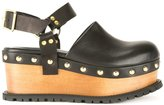 Sacai platform clog sandals - women - Leather - 37