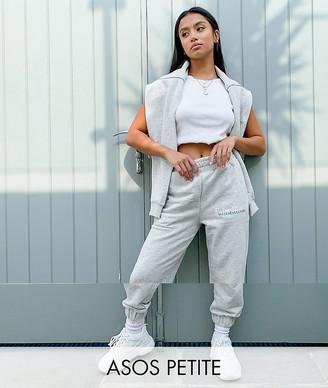 ASOS DESIGN Petite tracksuit oversized sweat with wellness logo / oversized sweatpants in gray marl