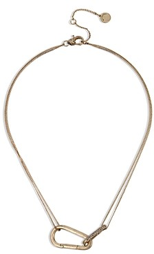 AllSaints Pave Carabiner Double Chain Collar Necklace, 15-17