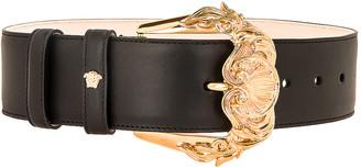 Versace Leather Buckle Belt in Black & Gold | FWRD