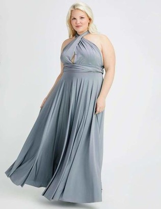 Two Birds Dusty Blue Convertible Ballgown Dress