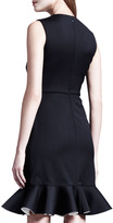 Valentino Bicolor-Fluted Sleeveless Dress, Black/White