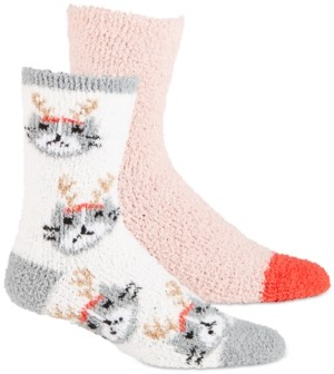 Jenni Women's 2-Pk. Reindeer-Cat & Solid Cozy Crew Socks, Created for Macy's