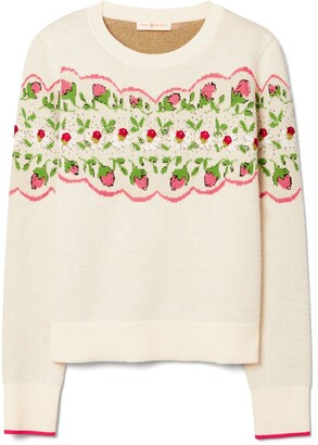 Tory Burch Embellished Floral Pullover