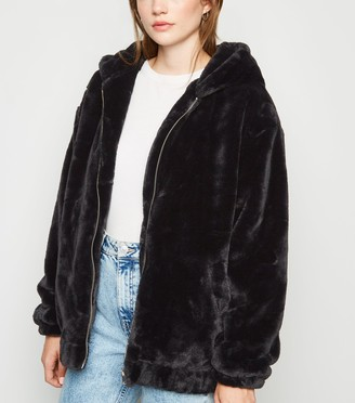 New Look Faux Fur Hooded Bomber Jacket