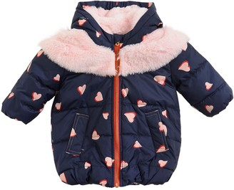 Little Marc Jacobs Hooded Nylon & Faux Fur Coat