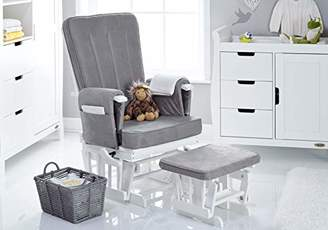 O Baby Obaby 7 Position Deluxe Reclining Glider Nursing Chair & Stool, White