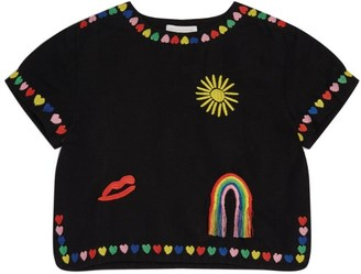 Stella McCartney Embroidered Hearts Top