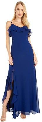 BB Dakota Final Fancy Textured Chiffon Maxi w/ Ruffle Slit Dress (Vintage Blue) Women's Dress