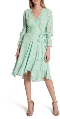 Tahari Snakeskin Print Chiffon Faux Wrap Dress