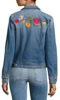 7 For All Mankind Trucker Embroidered Denim Jacket