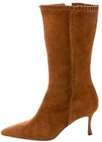 Manolo Blahnik Suede Pleated Boots