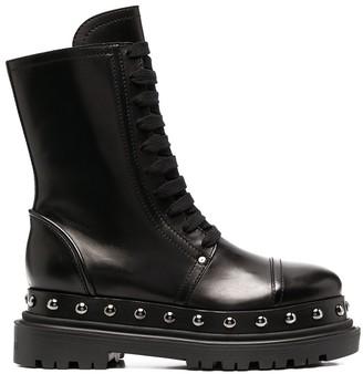 Casadei Studded Leather Biker Boots