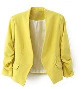 Bestgift Womens Folding Sleeve V-Neck jackets Slim Office Blazer M/EUR38