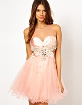 Forever Unique Illusioned Neckline Prom Dress - Nude