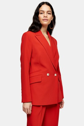Topshop Womens Red Double Breasted Blazer - Red