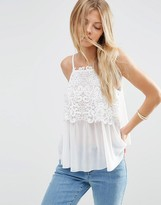 Asos Cami In Knitted Chiffon And Lace