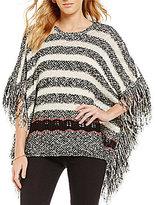 Takara Fringe Sides Striped Fringe Sweater Poncho