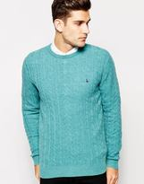 Jack Wills Jumper In Cable Knit Blue Marl