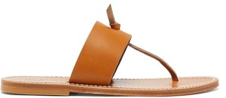 K. Jacques Wouri Toe-post Leather Sandals - Tan