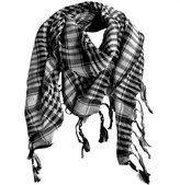 Private Label Houndstooth Square Shawl, Black and White