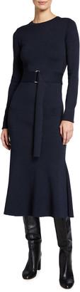 Victoria Beckham Wool-Blend Belted Midi Dress w/ Side Slit