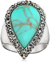 Lucky Brand Turquoise Pave Ring, Size 7