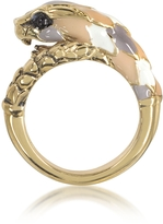 Roberto Cavalli Gold Tone Metal and Multicolor Enamel Snake Ring