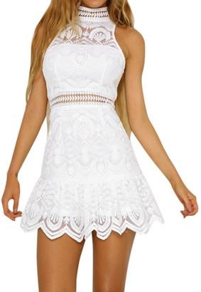 Weant Women Dresses Women Dresses Casual Lace Ruffles Halter Mini Dress Sexy Summer Short Beach Party Sundress Princess Dress Evening Party for Women Jumper Teen Girls (S