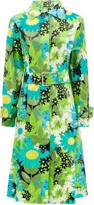 Moncler 0 Genius Richard Quinn - Charlie Floral Coated Cotton-canvas Raincoat - Womens - Green Multi