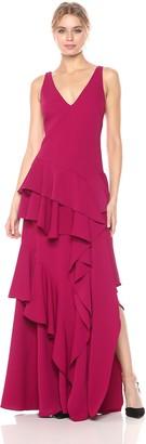 Halston Women's Sleeveless Wide V Neck Flounce Detail Gown