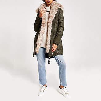 River Island Khaki faux fur trim oversized parka