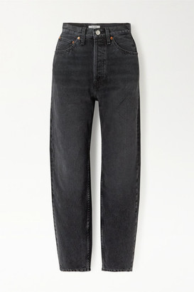 RE/DONE Pixie Levinson Distressed High-rise Tapered Jeans - Black