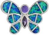 Sabrina Silver Sterling Silver Amethyst CZ Butterfly Pendant Synthetic Opal Inlay