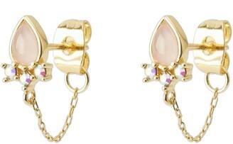 Gorjana Essex Rose Quartz & Crystal Chain Huggie Hoop Earrings