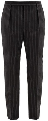 Saint Laurent Metallic-pinstripe Wool-blend Trousers - Black Silver