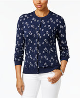 Karen Scott Anchor-Pattern Cardigan, Only at Macy's