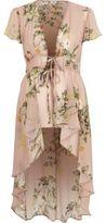 River Island Womens Light pink floral high low hem kimono top