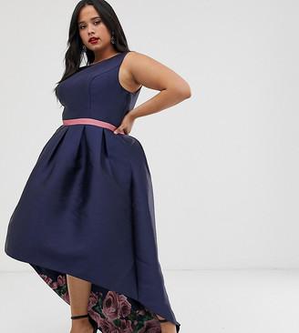 Chi Chi London Plus satin midi prom dress with high low hem in print-Multi