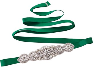 Azaleas Women's Crystal Wedding Belt Sashes Bridal Sash Belt for Wedding (Green)