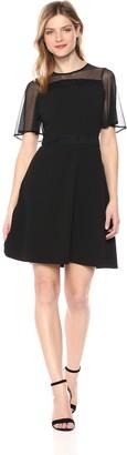 Calvin Klein Women's Black Short Dress with MESH Sleeves 12