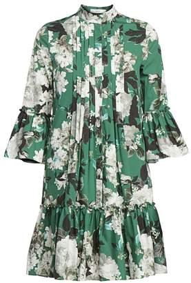 Erdem Winford Rose Wallpaper Bell Sleeve Shirtdress