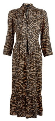 Dorothy Perkins Womens Tan Pussybow Smock Midi Dress