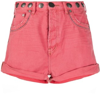 One Teaspoon Stud-Embellished Denim Shorts
